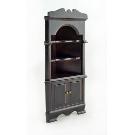 Dark Walnut Triangle Corner Cabinet Dollhouse Furniture