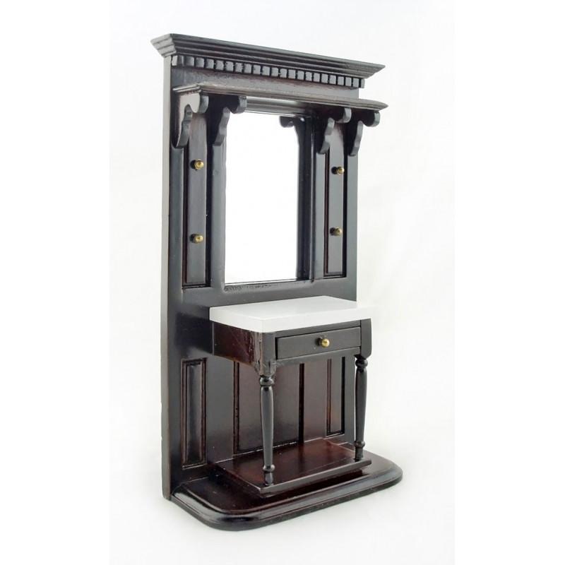 Dark Walnut Victorian Hall Stand Dollhouse Furniture