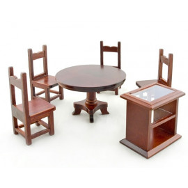Kitchen Walnut Side Table Chair Set Dollhouse Furniture