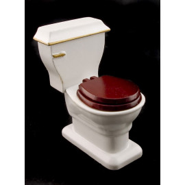 Mahogany Bathroom Tank Seat Toilet Dollhouse Furniture