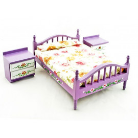 Purple Nursery Bed 2 Nightstand Set Dollhouse Furniture