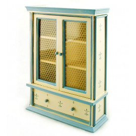 Victorian Blue Beige 2-Door Cabinet Dollhouse Furniture