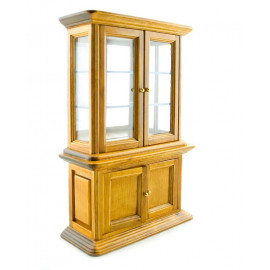 Oak Wood Display 4-Door Cabinet Dollhouse Furniture