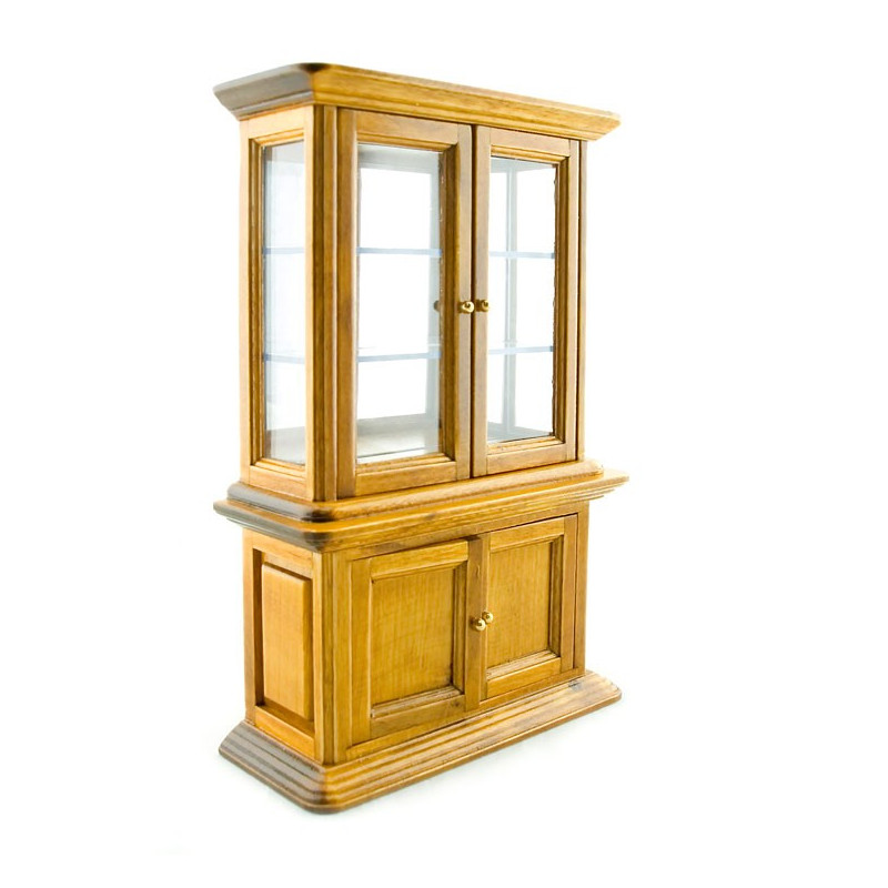 Oak Wood Display 4 Door Cabinet Dollhouse Furniture