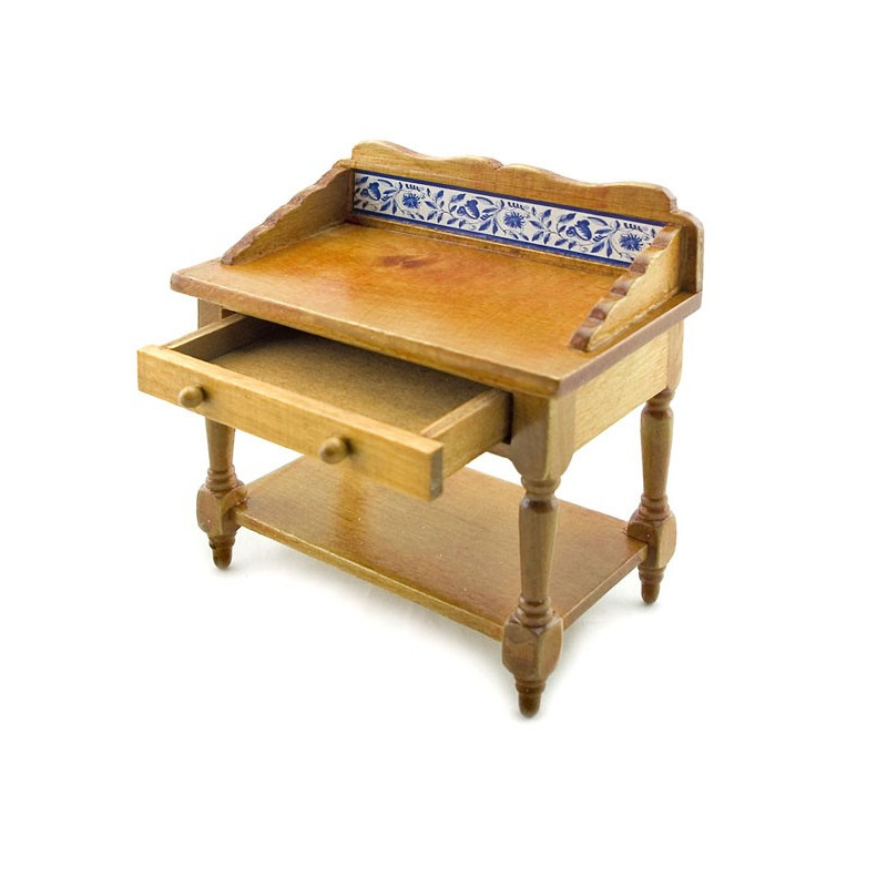 Natural Wood Learning Desk W Drawer Dollhouse Furniture