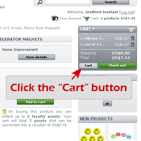 "Step 1. Click the ""Cart"" button"