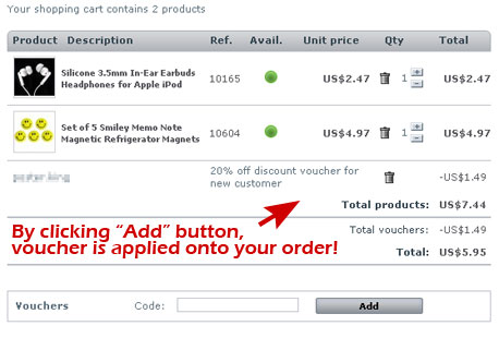 "Step 3. Click the ""Add"" button to apply Voucher to your order."